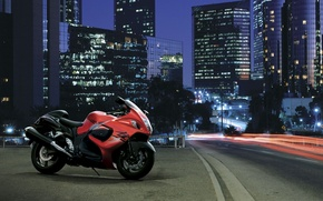 Wallpaper Suzuki, Hayabusa, GSX 1300 R, motorcycle, the city, road