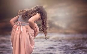 Picture water, dress, girl, curls, Julia Altork