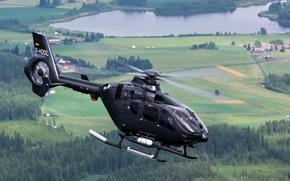 Picture flight, landscape, helicopter, EC135