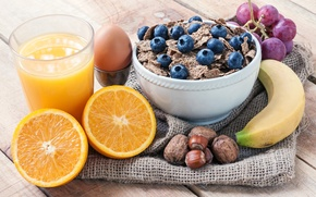 Picture juice, glass, muesli, blueberries, nuts, still life, orange, banana, grapes, egg