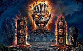 Picture monster, ruins, heavy metal, Iron Maiden