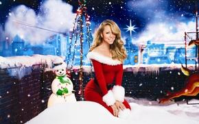 Picture snow, new year, dress, maiden, Mariah Carey, snowman