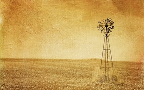 Picture style, field, windmill, background