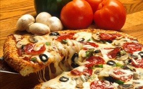 Picture mushrooms, food, cheese, food, pizza, tomatoes, olives, pizza, delicious, olives, mushrooms, tomatoes, cheese