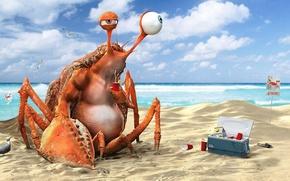 Picture beach, water, the ocean, crab, drink, lemonade, funny, 3D Art