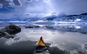 Picture Boat, river, clouds, mountains