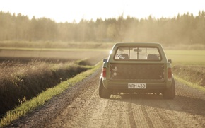 Picture road, the sun, shadow, Volkswagen, wheel, back, tail lights, Caddy, countryside 2
