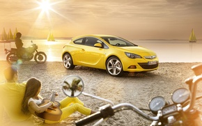 Wallpaper SHORE, MOTORCYCLES, The SUN, HORIZON, SAND, LIGHT, YACHTS, STAY, BEACH, PEOPLE, GUITAR, COLOR, YELLOW, RAYS, ...