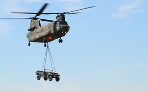 Picture machine, the sky, flight, helicopter, transport, military, shipping, CH-47F, Chinook