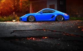 Picture car, tuning, Porsche, blue, tuning, stance, porsche cayman