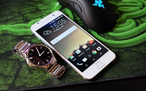 Picture white, mouse, Mat, razer, HTC, Smartphone, One A9, smart watch