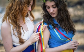 Picture love, country, girls, the world, Russia, Ukraine, flags dresses