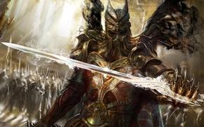 Picture magic, sword, armor, warrior, The demon