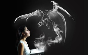 Picture girl, dragon, book