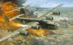 "Wallpaper the plane, Romania, 1943 -- ""Hell\'s Wench, Fire Over Ploesti by Roy Grinnell, the city, ..."