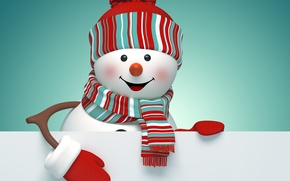 Picture New Year, Christmas, snowman, Christmas, New Year, cute, snowman, decoration, Merry
