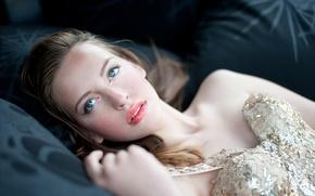 Picture eyes, girl, face, portrait, dress, blue, lips, corset