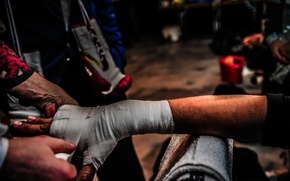Picture hand, preparations, boxing