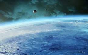 Picture space, planet, the atmosphere, satellites