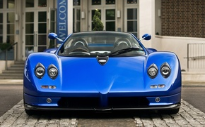 Picture blue, background, Roadster, supercar, Pagani, Zonda, the front, Pagani, Probe, 7.3, C12
