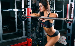 Picture t-shirt, fitness, makeup, fitness model, sexy, pose, the gym, simulators, topic, girl, beautiful, panties, brunette, ...