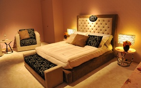 Picture room, bed, interior, pillow, lamp, table, bedroom