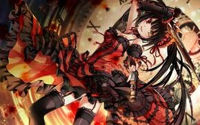 Picture girl, time, weapons, watch, spirit, stockings, dress, anime, art, date a live, tokisaki kurumi