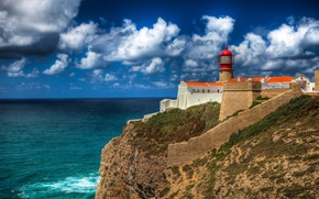 Picture sea, coast, lighthouse, Portugal, Portugal, Cabo de Sao Vicente, Faro