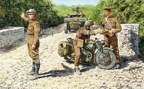 Picture motorcycle, soldiers, military, British, The second world war, checkpoint, Triumph 3HW