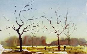 Picture trees, landscape, watercolor