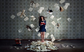 Picture girl, background, books