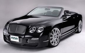 Picture on a gray background, Bentley, convertible, black, Machine, drives