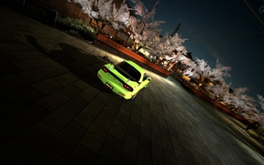 Picture trees, home, Japan, area, Sakura, RX-7, green