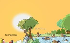 Wallpaper humor, caricature, Wulffmorgenthaler, beavers