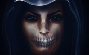 Wallpaper girl, face, skull, hood