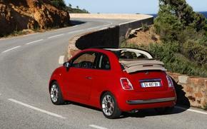 Picture road, landscape, 500, cabrio, Fiat