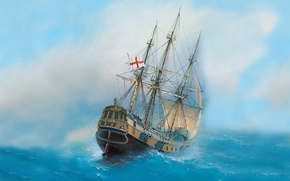 Picture sea, wave, the sky, the wind, ship, oil, art, watercolor, Navy, the middle ages, painting, …