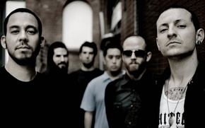 Picture group, linkin park, tinted photo, Mike Shinoda, Chester