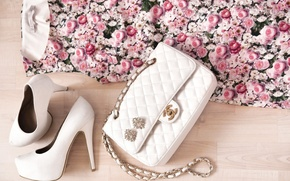 Picture flowers, style, clothing, roses, dress, shoes, bag, white, women's, chanel