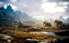 Picture forest, mammoth, skyrim