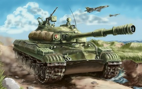 Picture fighters, aircraft, T-10M, art, Tank