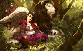 Picture forest, girl, Leo, art
