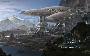 Picture mountains, planet, h3 factory