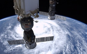 Picture earth, space, storm, ISS, clouds, planet, home, Russian flag, above, Soyuz, tropical storm Julia