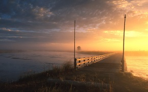 Wallpaper fog, river, Bridge
