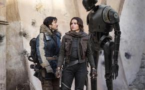 Picture cinema, Star Wars, girl, gun, pistol, weapon, woman, man, movie, film, gloves, official wallpaper, Felicity …