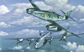 Picture aircraft, war, airplane, aviation, dogfight, me-262-b-24, liberator