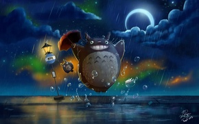 Wallpaper road sign, My Neighbor Totoro, night, Totoro, Crescent, umbrella, rain