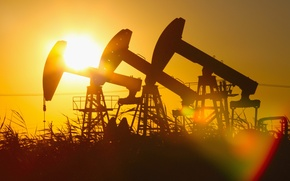 Picture sunset, heavy machinery, gas, drilling oil, light effects