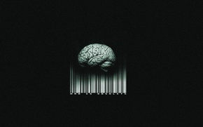 Picture barcode, brain, black background, man is obsolete